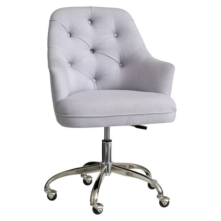 Tufted Desk Chair, Light Grey