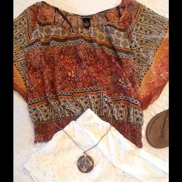 Bohemian top outfit Cute bundle includes this bohemian sheer top by Wetseal size XS and these cream lace shorts size M. Shorts have pockets on sides. Wetseal Other