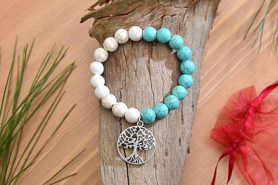 10mm Turquoise & White Stone Beads Tree of Life Bracelet