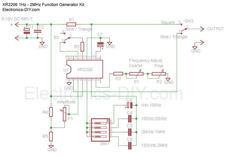 1Hz - 2MHz Function Generator with XR2206 schematic