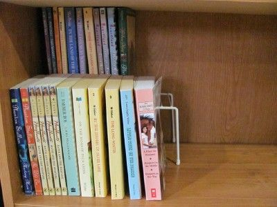 Store twice as many books on a shelf and still be able to see all of them.  I bookmarked this ages ago and forgot about it.  I don't bring any more books into my house thanks to my Kindle (hooray!!) , but I still need to do this for my older books that I can't let go of.