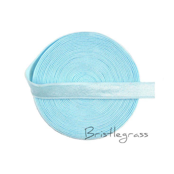 "5 Yard 3/8"" Blue Shiny Satin Elastics Bands Headband Bra Strap Dress Sewing Trim #Unbranded"