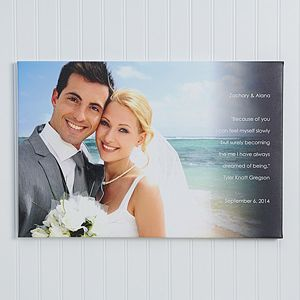 This is so beautiful! I want one! You can upload your favorite wedding photo and personalize the side with anything you want ... I think it would be cute to use your wedding vows or the lyrics from your first dance! #wedding #weddinggift