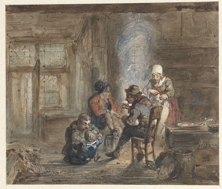 Matthijs Maris | Interieur met een familie rond een haard, Matthijs Maris, 1849 - 1917 |