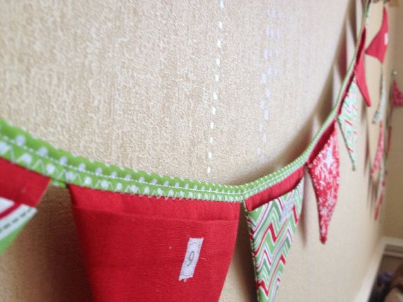 Bunting advent calendar / Christmas countdown  handmade from 100% cotton via Etsy