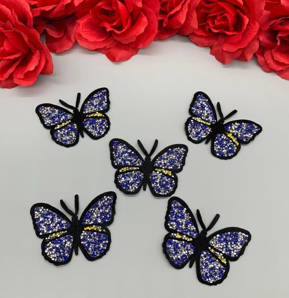 5pc//set Pink Yellow Iron On Rhinestones Butterfly Insect Fashion Patch DIY