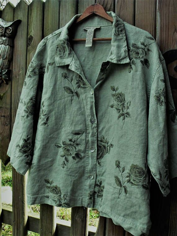 Linen Jacket Sage Green Roses Plus Size Jacket 100 Percent Linen Jackets Funky Outfits Denim And Lace