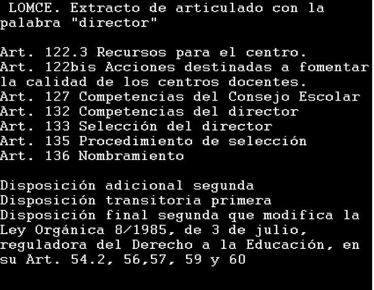 Selección de articulado de la LOMCE referido a directores y directoras de centros educativos públicos.  http://www.boe.es/boe/dias/2013/12/10/pdfs/BOE-A-2013-12886.pdf