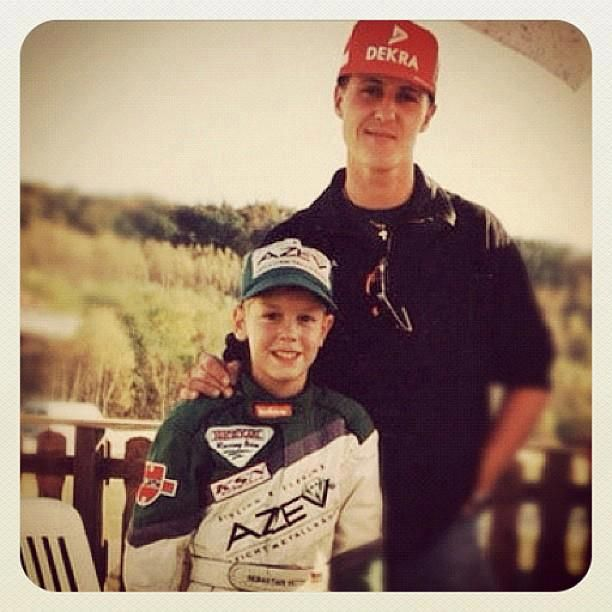 Michael Schumacher & Sebastian Vetter This is do awesome considering that young man is getting close to breaking Michaels records.