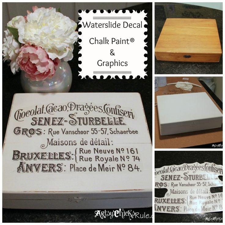 Cigar Box - Annie Sloan Chalk Paint - Waterslide Decal - Collage