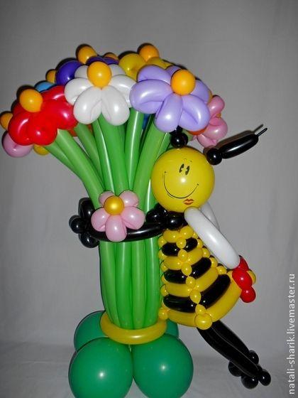 Праздничная атрибутика ручной работы. Ярмарка Мастеров - ручная работа Букет цветов из воздушных шаров с пчелкой.. Handmade.