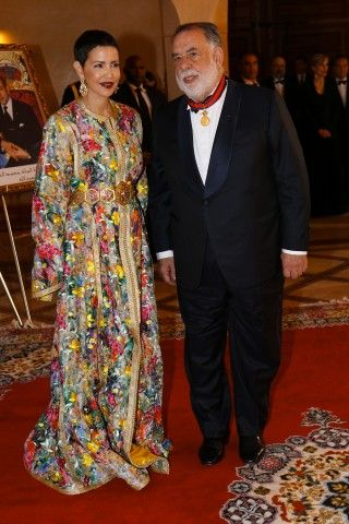 """U.S. director Francis Ford Coppola poses for a photo after he was awarded the order of """"Intellectual efficiency"""" by Morocco's Princess Lalla Meryem, left, during a ceremony at the 15th Marrakech International Film Festival in Marrakech, Morocco, Dec. 5, 2015."""