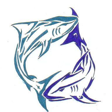 blue tribal shark tattoo - Google Search