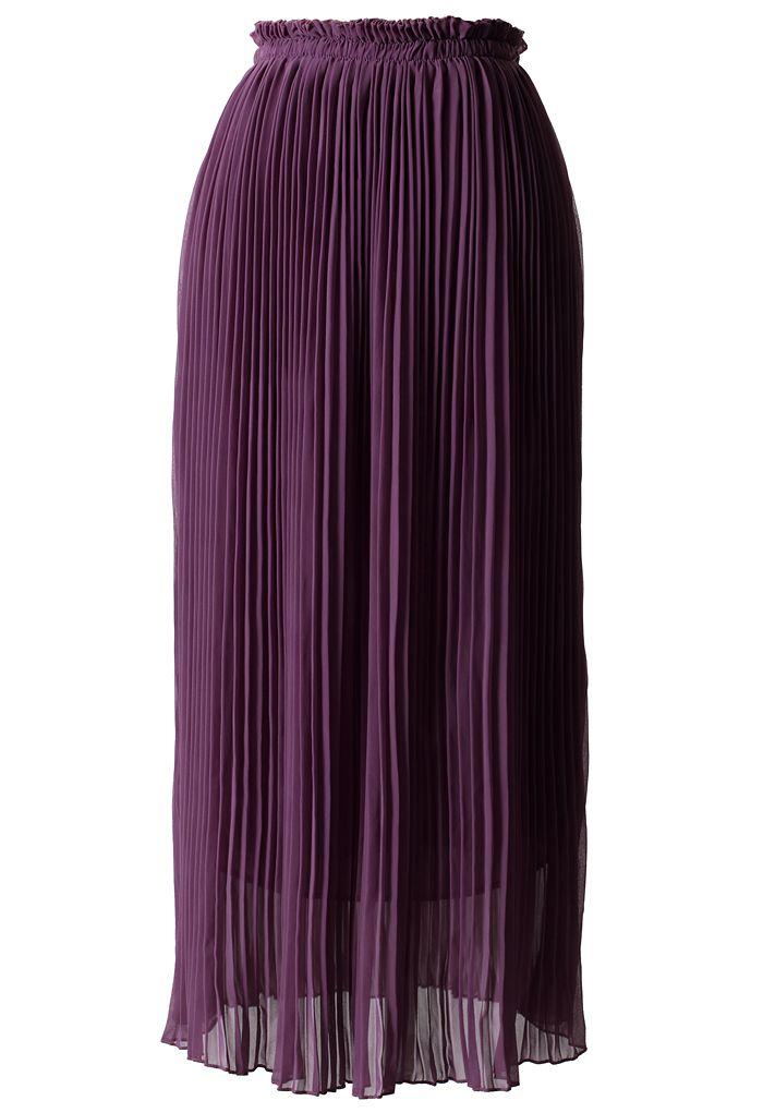 purple chiffon pleated maxi skirt the look