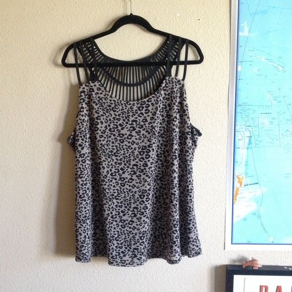 plus size black and grey strappy top Black and grey Leopard print top with awesome strappy back Maurices Tops Tank Tops