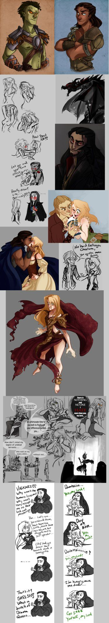Alright, its been a while but have some Skyrim art from my tumblr:the-orator.tumblr.com/ At the top are my characters Valkari, Demir, Falicia and Makoor most of the rest is costumes and clothing So...