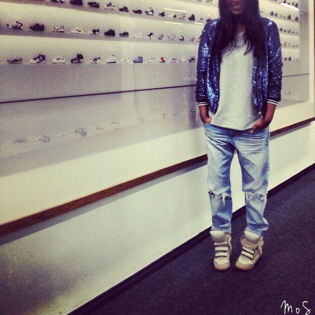 Iro Sequin Jacket, Sportsgirl Knit, HandM Jeans, Isabel