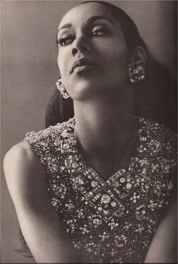 Dance legend Carmen de Lavallade. Seen here in the October 1964 issue of Harper's Bazaar in a beaded necklace by Coppola e Toppa.