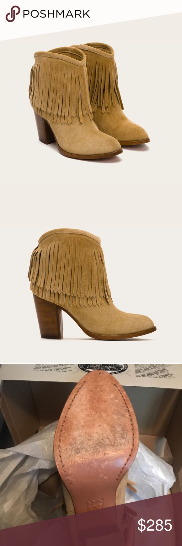 Frye Ilana Fringe Short - Size 8 Frye Ilana Fringe Short - Size 8 - Color: Biscuit. Perfect condition with box. Worn once! Only sign of wear is on the soles as shown in 3rd picture. Frye Shoes Ankle Boots & Booties