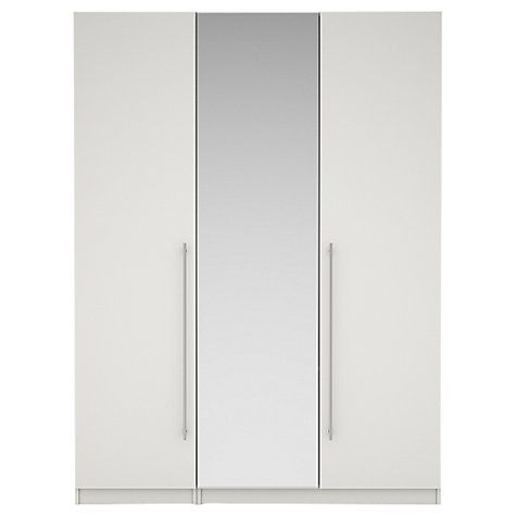 Buy House by John Lewis Mix it T-bar Handle Mirrored Triple Wardrobe, Gloss White/Matt White Online at johnlewis.com