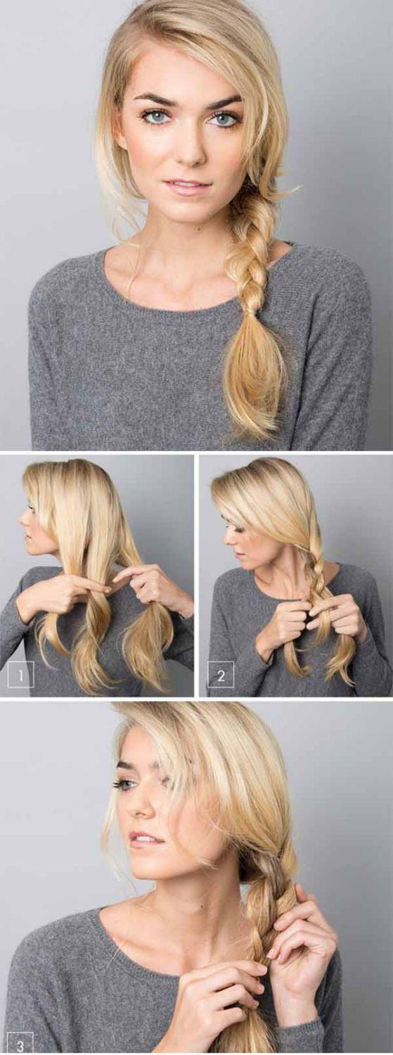 Braid for medium hair and staright hair - Trenzado de lado para cabello de tamaño medio y lacio
