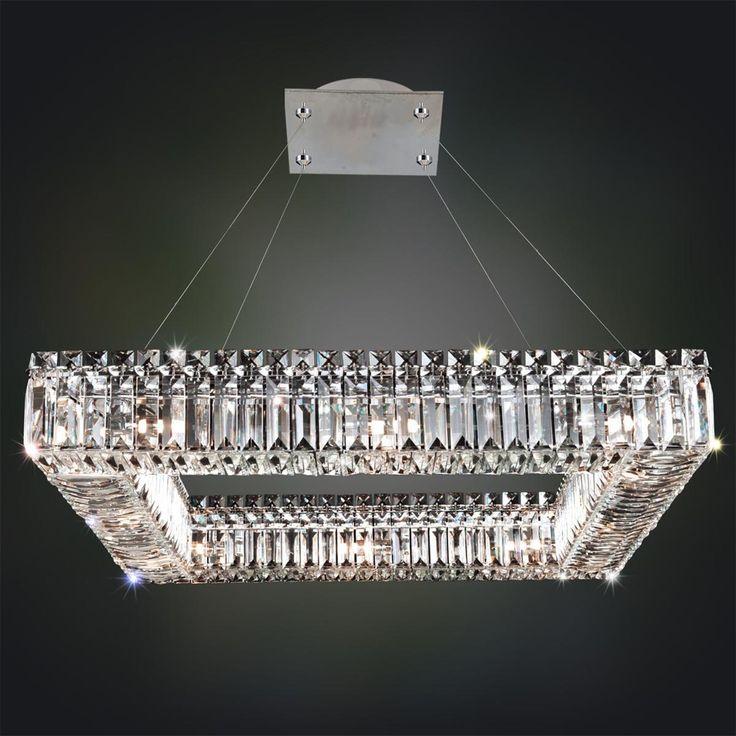 Sparkling Crystal Block Square Chandelier - 12 Light - Shades of Light