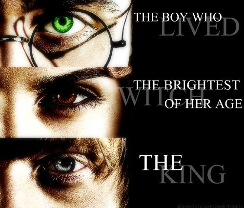 Love this, but don't understand why Harry's eye is green...maybe referencing Voldemort's ties with slytherin....