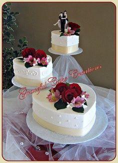 Elegant Ivory Butter Cream Heart Shaped Wedding Cake