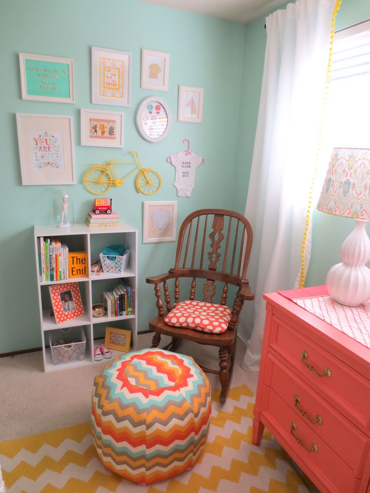 love this color combo !     Aqua and Coral Nursery.love the color scheme.... check out ALL our Boards !