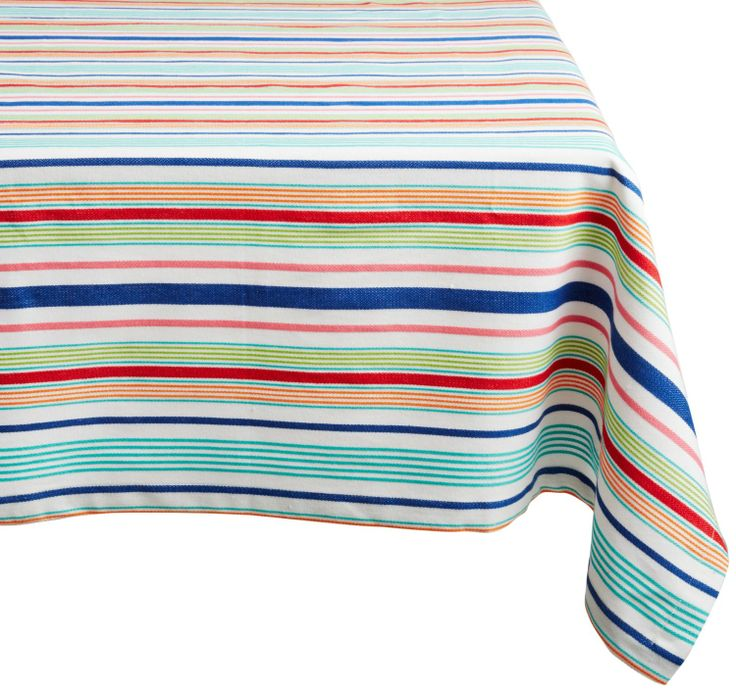 Amazon.com   DII 100% Cotton, Machine Washable Tablecloth Bold Stripe 60x84  #