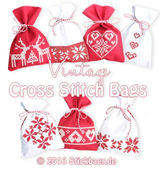 Vintage Crossstitch Bags ITH Mit dieser Stickdatei könnt Ihr 7 verschiedene hübsche weihnachtliche Geschenkesäckchen komplett ITH, also im Rahmen Eurer Stickmaschine sticken. Die Säckchen sind mit nostalgischen Kreuzstichmotiven verziert, welche besonders mit Baumwoll-Stickgarn aussehen, als hättet Ihr sie liebevoll per Hand gestickt. Die Weihnachtssäckchen sind komplett gefüttert und werden nach dem Füllen einfach mit einem hübschen Band verschlossen. Die fertigen Säckchen sind ca. 12,5 x…