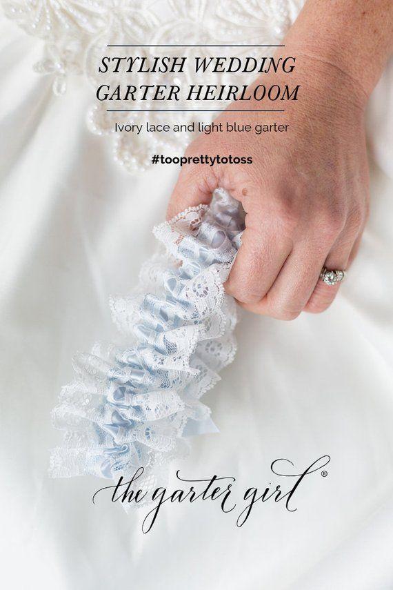 Bridal Lingerie Lace Garter, Light Blue Satin Wedding Garter, Single