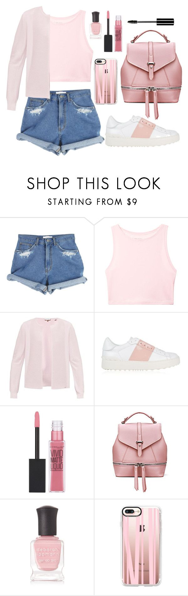 """Casual Pink"" by wolfiexo on Polyvore featuring Victoria's Secret, Ted Baker, Valentino, Maybelline, Deborah Lippmann, Casetify, Charlotte Russe, Pink, denim and shorts"