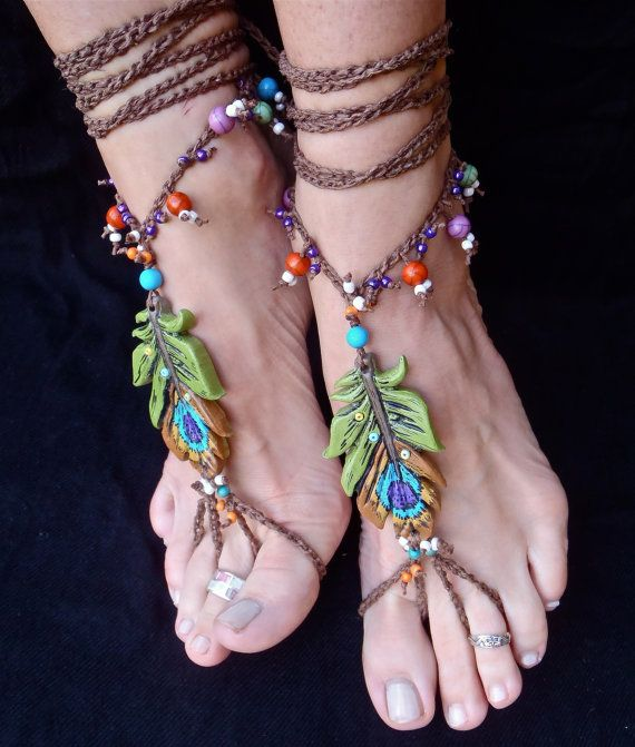 BOHEMIAN barefoot sandals PEACOCK FEATHER for many by GPyoga: Peacock Feathers, Barefoot Sandals, Sandals Peacock