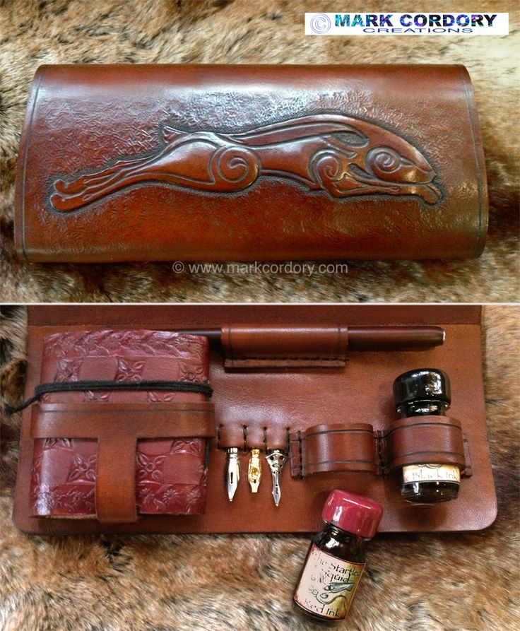 Tooled leather scribe or writing kit for LRP - LARP MXS Made by Mark Cordory Creations www.markcordory.com