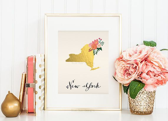 Printable New York Art New York State Map by BluePearDesigns