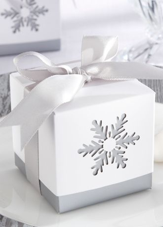 gift box inspiration - cut out snowflake on side of box and use neutral color underneath