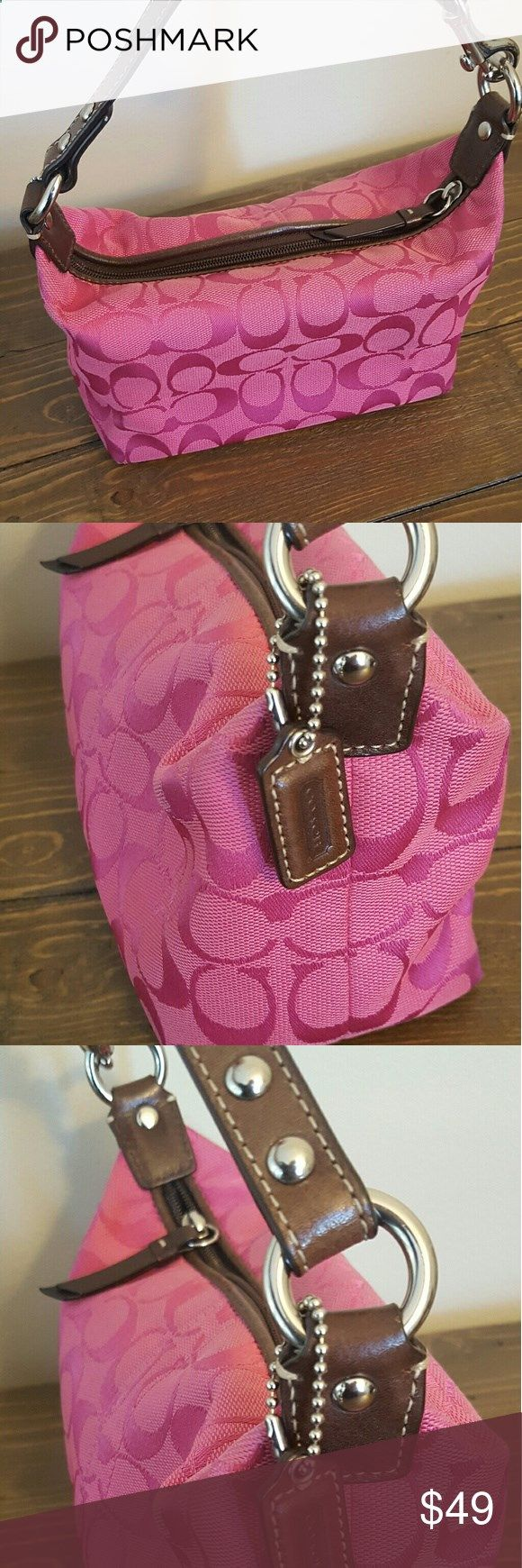 Pink Coach Purse Small shoulder purse. Good condition; minor scuffs on bottom as shown in picture. Coach Bags