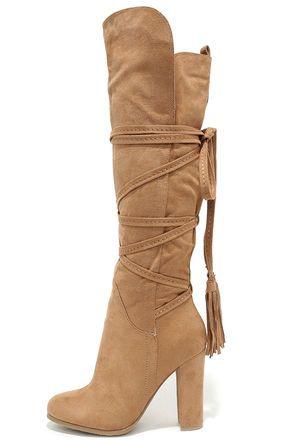 Take Aim Camel Suede Knee High Heel Boots