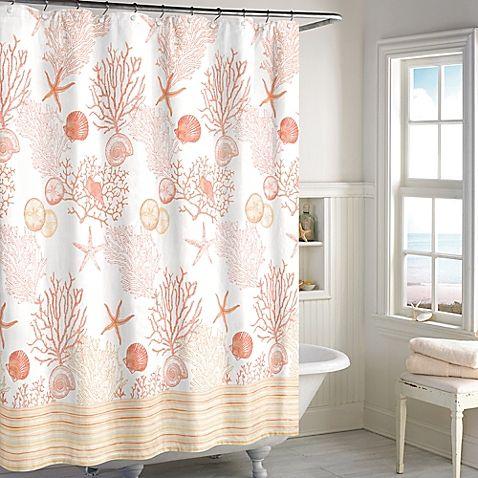 Bright and sunny coral shower curtain for a coastal bathroom: http://www.completely-coastal.com/2016/01/coastal-beach-shower-curtains.html