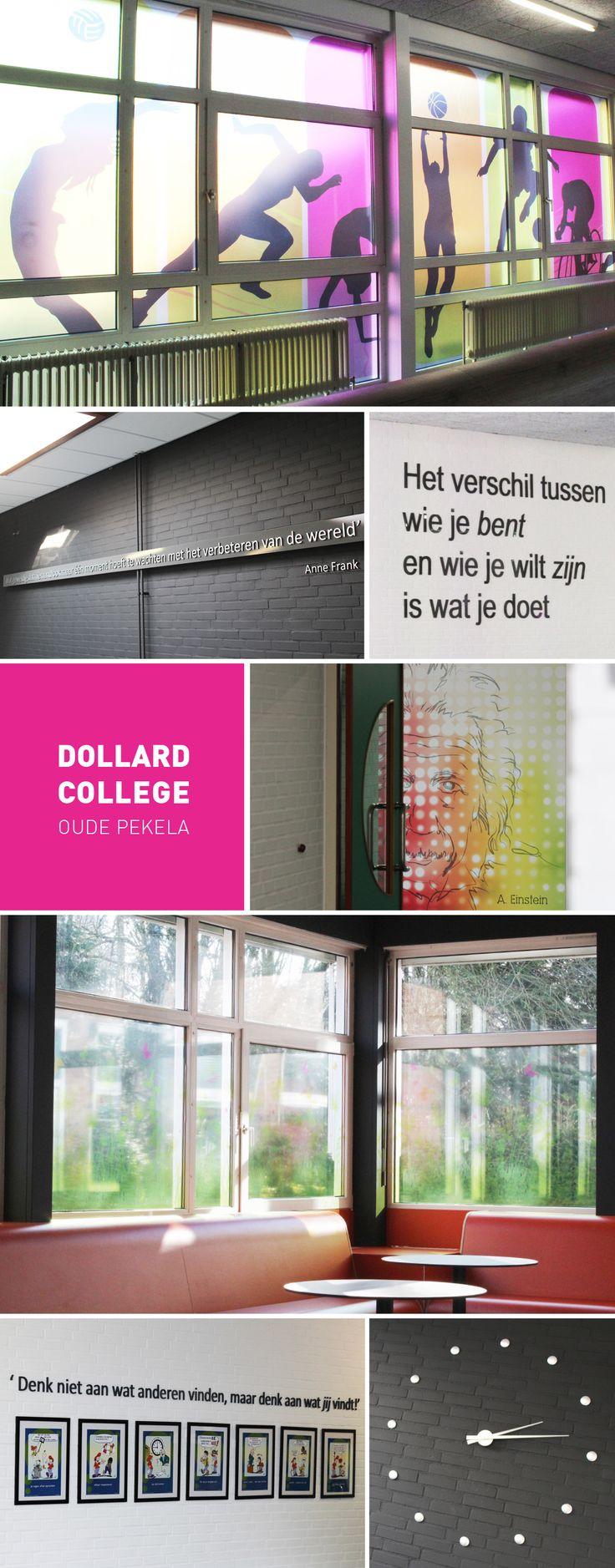 'Dollard College' Oude Pekela #KoggelReclame #Interieur #Projecten #Wanddecoratie #Raamdecoratie #Freesletters