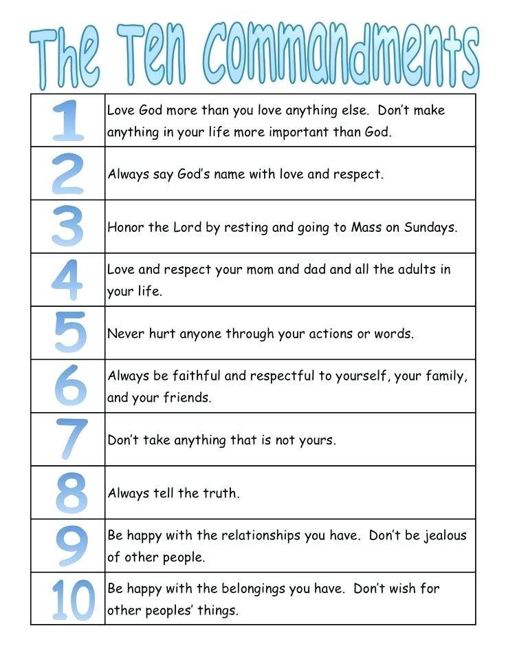 Catholic Ten Commandments For Kids : catholic, commandments, Catholic, Religious, Education