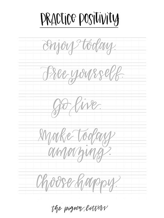 Calligraphy Handwriting Worksheets : Free practice sheets hand lettering positivity