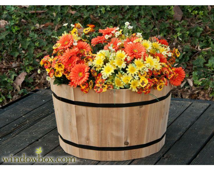 64 best wooden barrels repurposed images on pinterest for Wooden barrel planter ideas