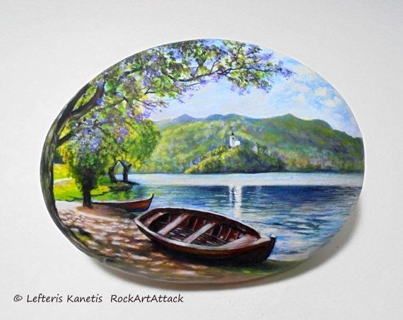 Rock Painting Landscape With Boat Next To The by RockArtAttack