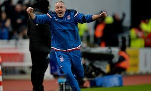 Jan. 20th. 2017: Paul Lambert shows delight as his first home game in charge as manager brings a 2-0 win over Huddersfield Town