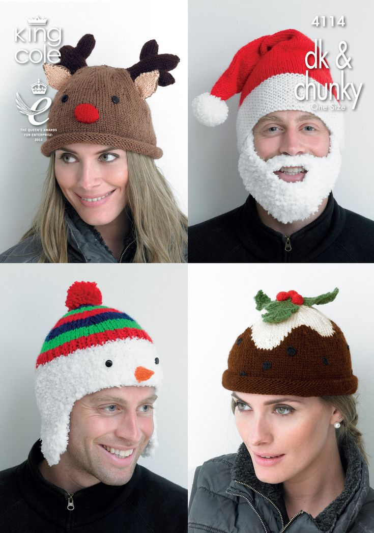 Christmas Hat Knitting Pattern 4114 - King Cole Knitted Rudolph hat, Knitted Santa hat, Knitted Snowman hat, Knitted Christmas pudding hat Christmas knitting
