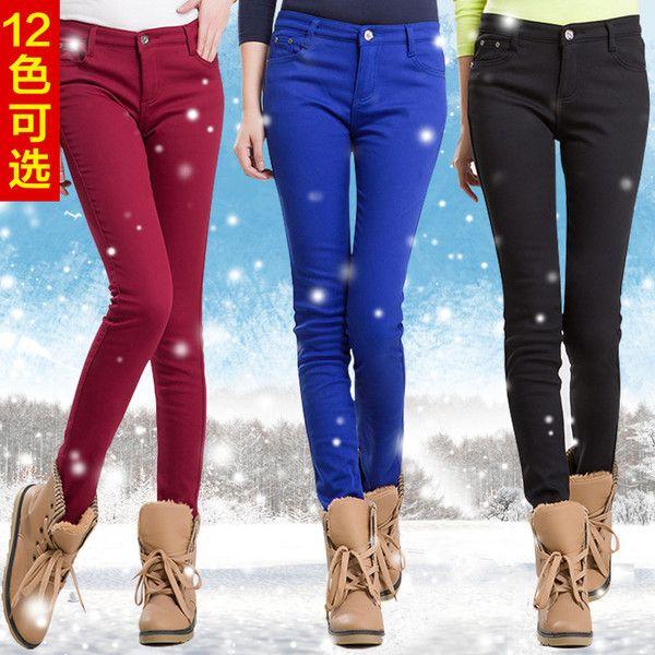 Цвет плюс бархатные штаны конфеты цветные наружный носить толстые ноги карандаш брюки длинные брюки ковбойские сапоги брюки дна осенью и зимой