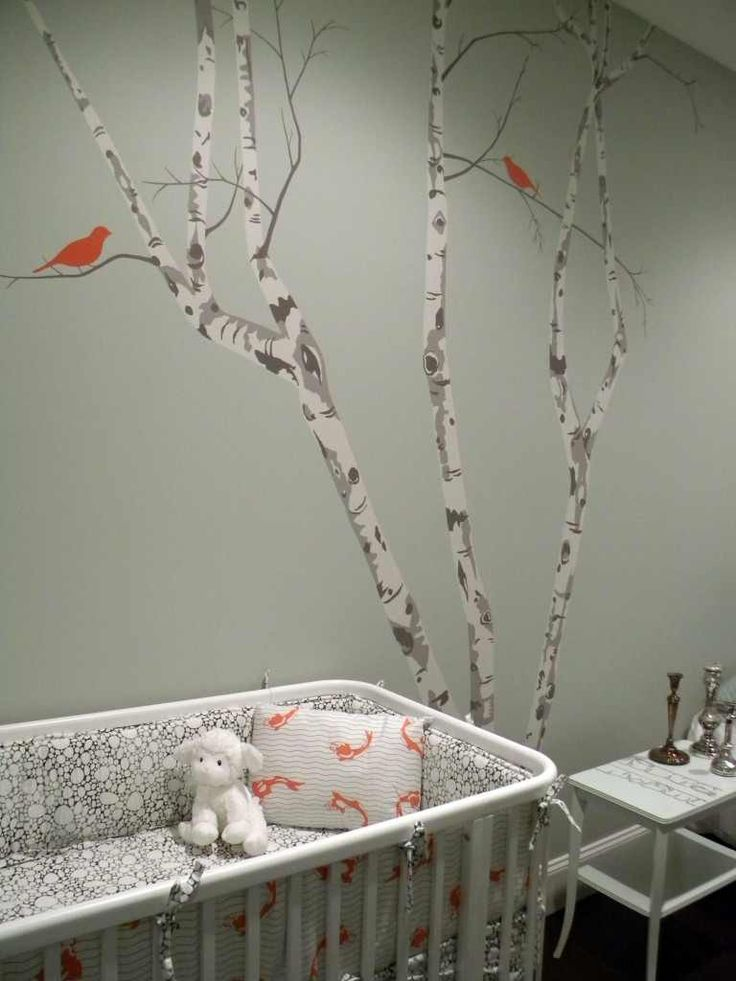 Gender Neutral Nursery Design With Gray Green Walls Paint Color, Birch Tree  Wall Stencil Mural, White Modern Crib And Frosted Glass Doors. Part 60