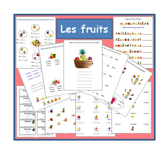 FRUITS FRENCH WORKSHEETSPrimary Resources by YippeeLearning